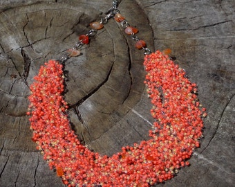 Bff gifts engagement present Original necklace fall jewelry carnelian jewelry autumn colors orange necklace Eco jewelry gift organic jewelry