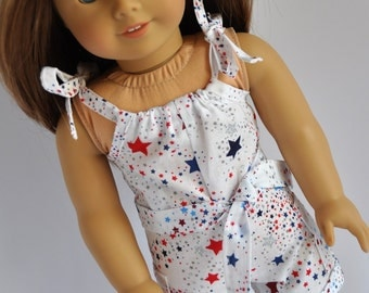 Fourth of July Red, White and Blue Stars  Romper with Pillowcase Top 18 inch Doll Clothes