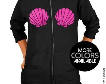 Mermaid Seashells Zip Up Hoodie - Hooded Sweatshirt - Black Zip Up Hoodie - Pink Gold Purple Ink Available
