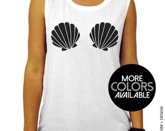 Mermaid seashells white flowy racerback tank top mermaid for Racerback t shirt bra