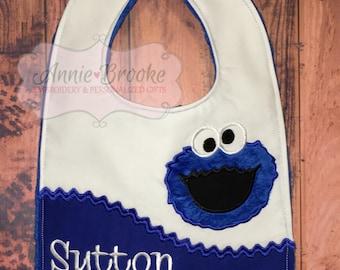 Cookie Monster Personalized Bib, - Cookie Monster Bib, - Monogrammed Baby Bib, - Embroidered Baby Bib, - Baby Shower Gift