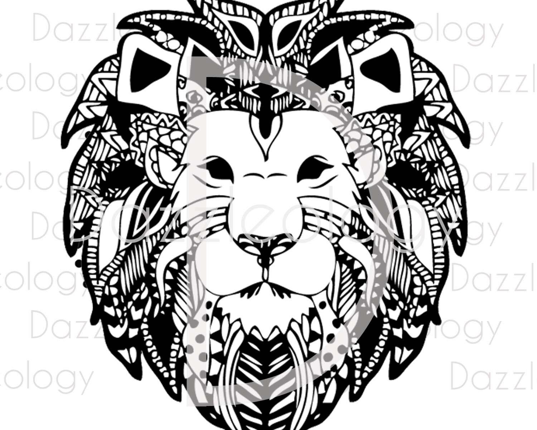 Download Intricate Lion SVG File DFX File Zendoodle Mandela Circle