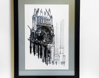 "16""x22"" Custom Framed, Chicago Art Print, Architectural Drawing, Pen and Ink, Quigley Center, Giclee Print of Original Drawing-Ready to Hang"