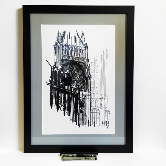 16x22 Custom Framed Chicago Art Print