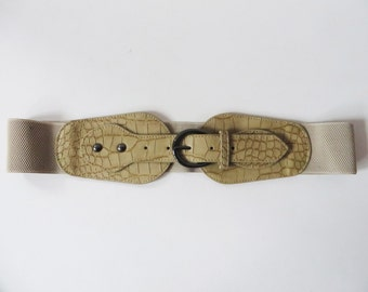 Beige Elastic Belt Vegan Leather Belt Faux Leather Belt Light Brown Belt Womens Waist Belt Crocodile Print Belt