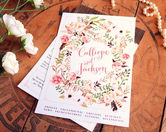Floral Rustic Programs - Wedding Boho Garden Wedding Ceremony Programs - Printable or Printed