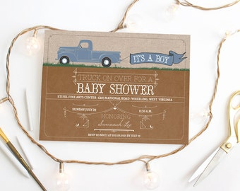 Vintage Truck Baby Shower Invitation - Boy Shower Idea - Rustic Shower Party - Printed or Printable Invitations