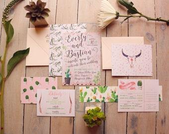 Desert Wedding Invitation - Cactus Wedding Invites - Cacti Blooms Boho Hipster Invitation Suite - Printable or Printed