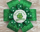 St. Patrick's Day Hair Bow - Shake Your Shamrock - Shamrock Glitter Hair Bow Clip - St. Patty's Hair Accessory - Button Shamrock Bow