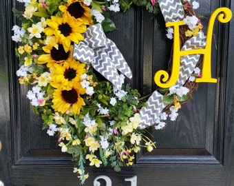 Large Grapevine Sunflowers Wreath Personalized Monogram Initial Burlap Chevron Mesh Ribbon Spring Summer Mothers Day Year Round