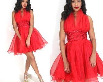 Vintage 80s Red Sheer Chiffon Halter Full Skirt Mini Dress Sequin Party Holiday Glam