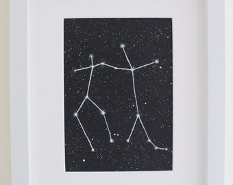 Gemini constellation original acrylic painting black and white