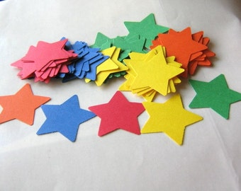 60ps Star Die Cut Red Yellow Green Orange Blue 1 3/8 Inch Primary Color 65lb Cardstock