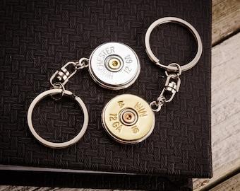 Shotgun Bullet Casing Jewelry - Bullet Key Chain w/ Silver / Brass 12 Gauge