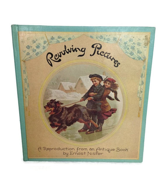 Revolving pictures interactive kids book antique reproduction 1973