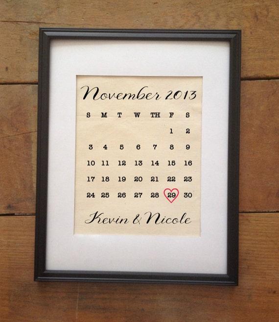 Cotton Wedding Anniversary Gift Ideas For Her: SALE Wedding Calendar Cotton Print By TheYellowDogShoppe