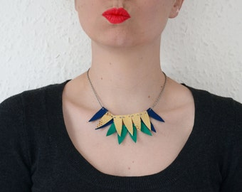 Leather bib necklace, Triangle necklace, parakeet gift, Statement geometric necklace, Wife statement jewelry, Neon necklace, Gift for her