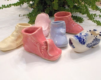 Shoe Planters Boot Planters Baby Shoe Planters Vintage Planter Nursery Decor Collection of 6