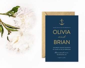 Anchor Wedding Invitations, Nautical Invitations in Navy Blue and Gold