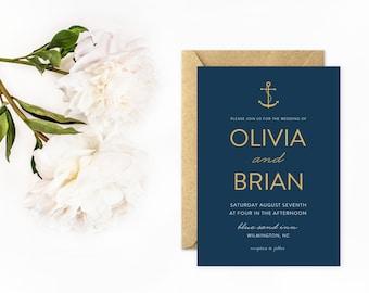 Anchor Wedding Invitations, Beach Invitations in Navy Blue and Gold, Nautical Wedding Invitations