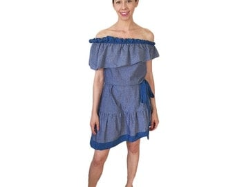 Off the Shoulder Dress in Cotton and Silk