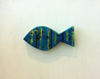 Wooden Blue Fish Beach Coastal Wall Hanging Decor Art