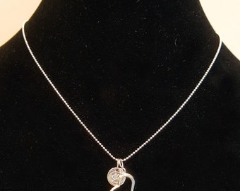 Sterling Silver Necklace with Open Heart and Stamped Paw Charm