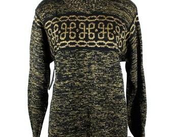 Vintage 80s 90s Black with Gold Lurex Thread Jumper