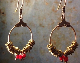 Small hoop earrings ring and coral