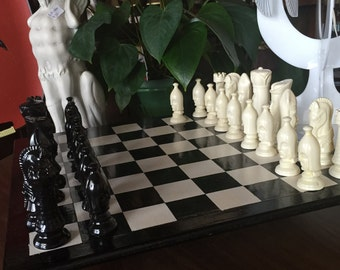 Vintage Ceramic Chess Set with Wooden Game Board