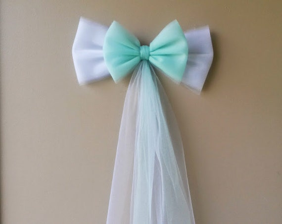 Mint and white tulle wedding bow church pew by darlingchicdesign - Bow decorations for weddings ...