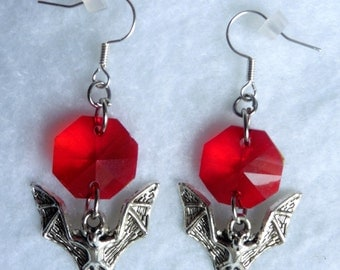 Bats Earrings RED - Gothic, Victorian, Bathory, Bat, Vampire, Dracula, Curiosities, Oddities, Halloween, Mystical, Elvish, Blood, Witch