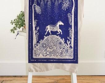 Horse Tea Towel, Wall Art, Horses, Tea Towels, Art Prints, Screen Print, Housewarming Gift, Gift for Horse Lover, Dish Cloth, Cobalt Blue