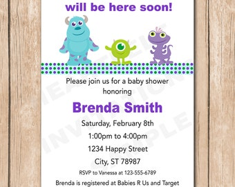 Mini Monsters Inc. Baby Shower Invitation | Boy or Girl, Neutral - 1.00 each printed or 12.00 DIY file