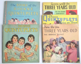 Dionne Quintuplets Collection.  Vintage Books and a Fold-Out Portrait All Dating from the 1930s.