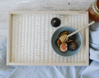 Wood Serving Tray - Decorative Abstract Houses Pattern - White on Birch Plywood