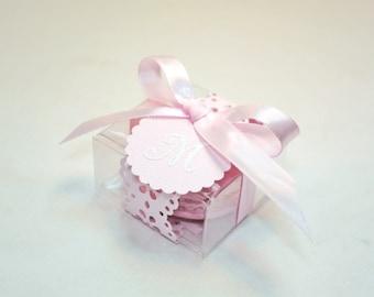 Pink Doily Shower Favors, Favor Boxes - Set of 30 Favor Boxes, Bridal or Wedding Favors