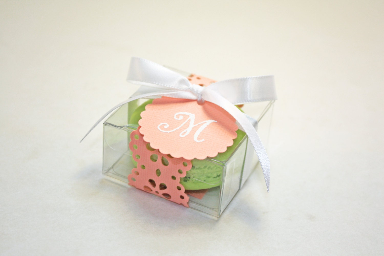 Coral Doily Favor Boxes, Peach French Macaron - 30 Favor Boxes ...