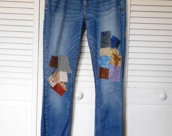 Patchwork Jeans Upcycled Clothes Butt Patch Hippie Blue Jeans Worn In Patched Abercrombie Size 10 Bohemian Boho Indie Festival Baggie