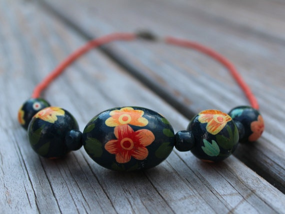 Short Bead Necklace, Chunky Blue and Orange Salmon Necklace, Hand-painted Wood Bead Preppy Jewelry, Big Beads