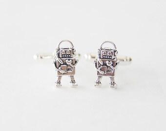 Silver Robot Cufflinks Robot Gifts for Men Scifi Cufflinks Robot Cuff Links Set Geeky Gifts for Men Men's Accessories Vintage Robot Jewelry