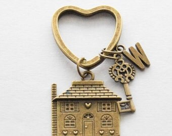 New Home Gift, Housewarming Gift, New House Keychain, First House Keyring, Home Key Chain, Personalized Brass Skeleton Monogram Keychain