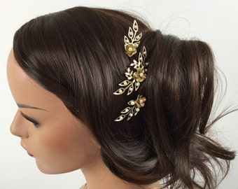 Bridal pearl hairpin set - Gold & pearl floral leaf Spring wedding hair pin set
