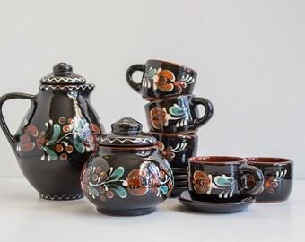 Vintage Pottery Tea Coffee Set for 5, Black Pottery Teapot Sugar Bowl Teacup Saucer, Soviet Ceramic Service, USSR 1970s, Handmade