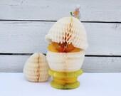 Vintage Honeycomb Easter Chick and Easter Egg / Danish Amscam / Made in Denmark
