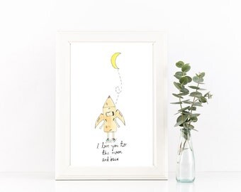 I love you to the moon and back // Nursery Art // Original Illustration // I love you // Childrens Artwork