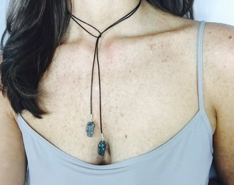 Black Leather Wrap Necklace with Two Moss Agate Drops, Leather Necklace, Modern, Minimalist, Black, Green & Silver, Women's Leather Necklace