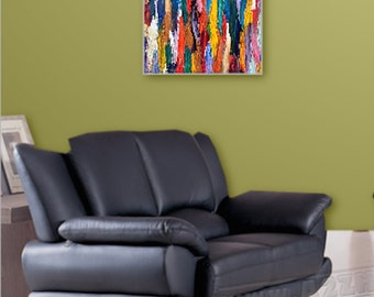 Wall Art, Painting, Abstract Original Acrylic, Contemporary, Modern, Multi-Colored, Red Blue Textured Home Decor  Title: Baguettes in Color