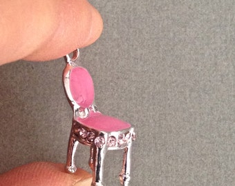 2 pink chair 3D charm enamel and silver tone 20mm #CH317