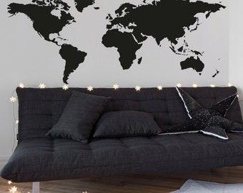 World Map Wall Decal -  Map Decal - Geography Wall - Large A0037